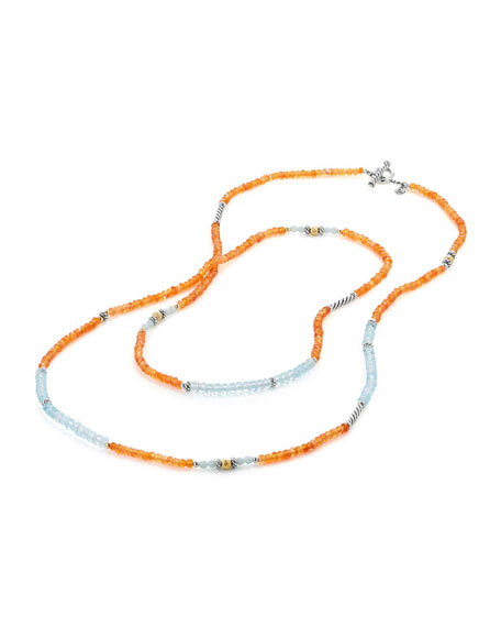 Tweejoux® Long Bead Necklace in Orange/Blue Stone Mix, 36""