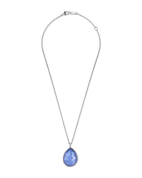 Silver Teardrop Pendant Necklace in Periwinkle