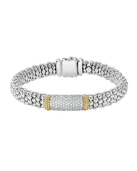 Lagos Diamond Lux Caviar Single Station Bracelet, 1.1tcw