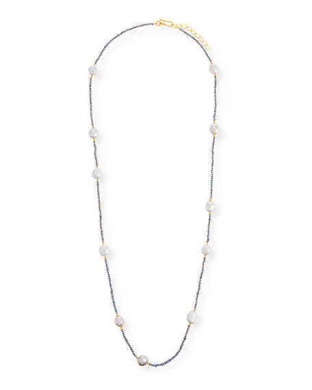 18k Baroque Pearl Station Necklace