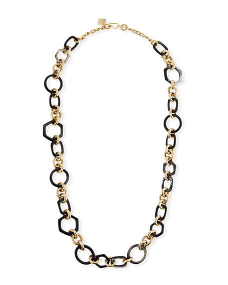 Ashley Pittman Shauri Dark Horn Link Necklace