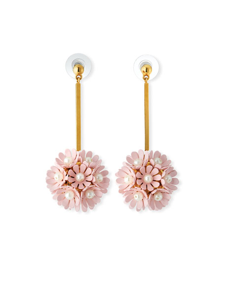 Lele Sadoughi Plumeria Enamel Floral Drop Earrings