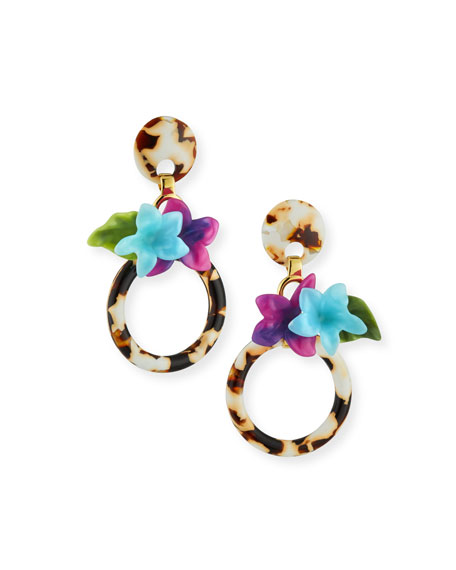 Hibiscus Hoop Drop Earrings