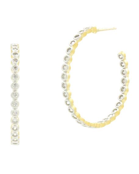 FREIDA ROTHMAN 14K Fleur Bloom Cubic Zirconia Hoop Earrings in Silver And Gold