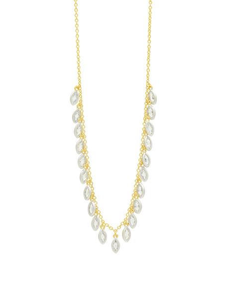 """FREIDA ROTHMAN 14K Cubic Zirconia Bloom Petal Fringe Necklace, 16-18"""" in Silver And Gold"""