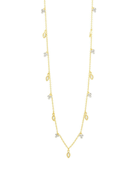 14k Cubic Zirconia Bloom & Petal Necklace, 40""