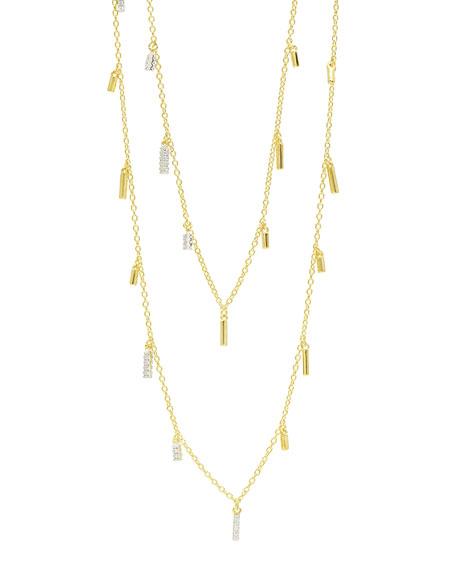 14k Long Cubic Zirconia Droplet Station Necklace