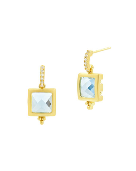 Freida Rothman Ocean Azure Square Drop Earrings