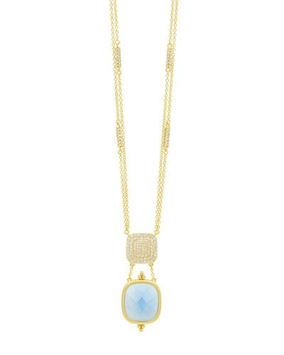 Ocean Azure Double-Drop Pendant Necklace