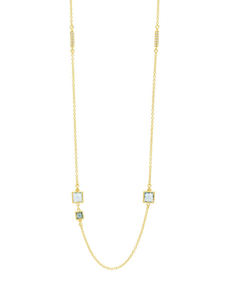 Ocean Azure Square-Station Necklace