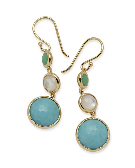 Ippolita 18k Lollipop?? Three-Stone Drop Earrings in Pacific
