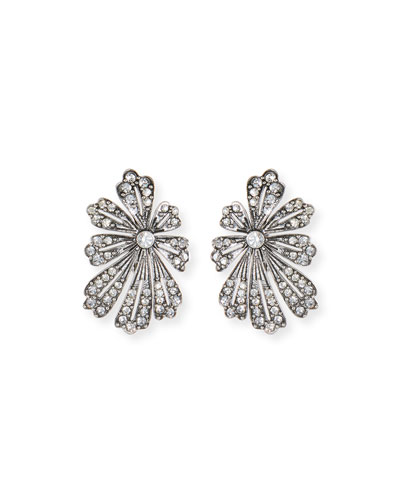 Camellia Crystal Flower Stud Earrings