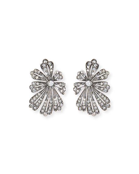 Lulu Frost Camellia Crystal Flower Stud Earrings