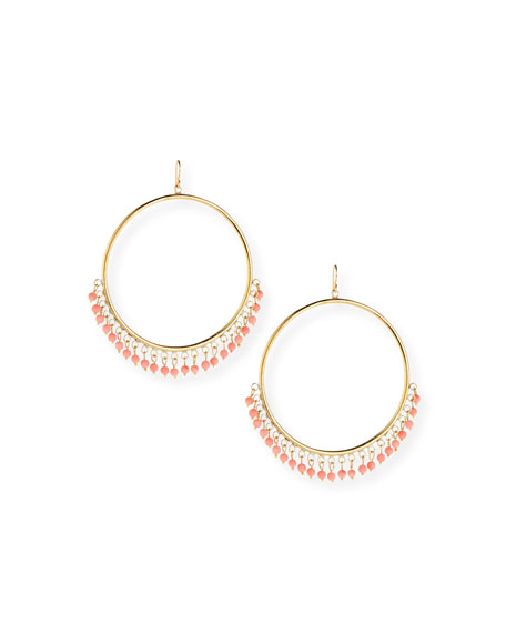 Mnara Bronze Hoop Earrings w/ Coral Dangles
