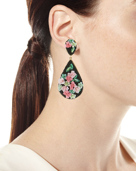 Julia Rosette Beaded Drop Earrings