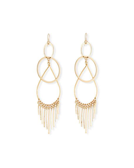 Devon Leigh Double-Link Teardrop Earrings w/ Fringe