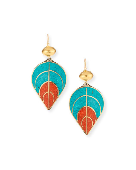 Turquoise & Coral Leaf Earrings