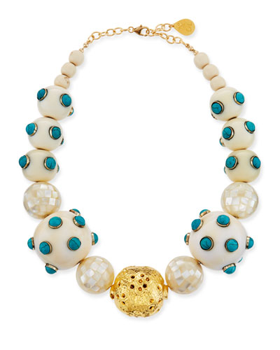 Pearl & Scattered Turquoise Necklace