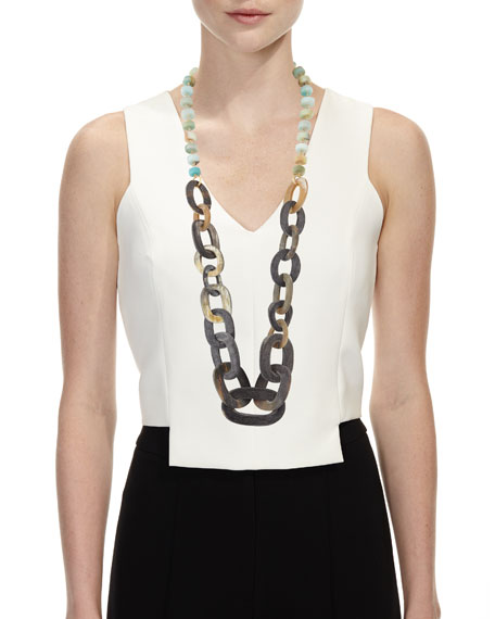 Mixed Rondelle & Horn-Link Necklace