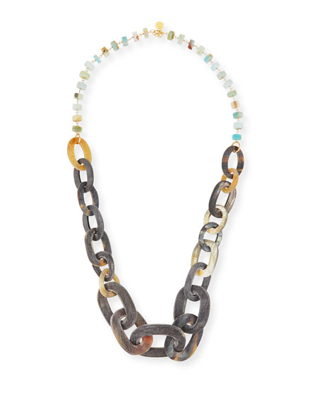 Devon Leigh Mixed Rondelle & Horn-Link Necklace