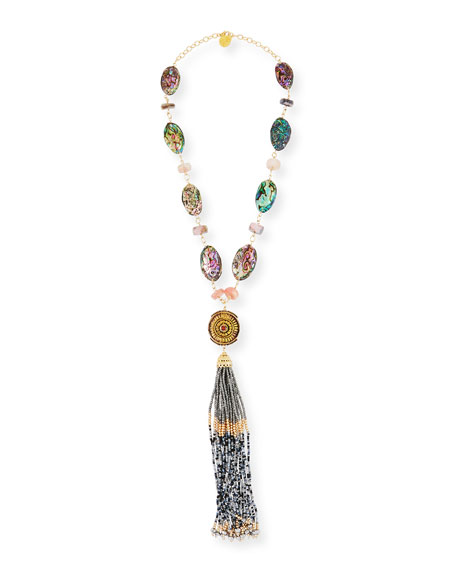 Devon Leigh Beaded Tassel & Opalescent Necklace