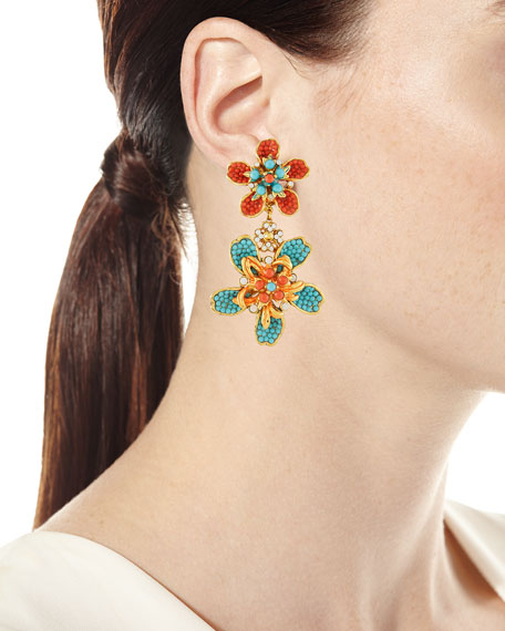 Double Flower Drop Clip-On Earrings, Turquoise/Coral