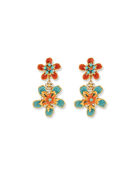 Jose & Maria Barrera Double Flower Drop Clip-On