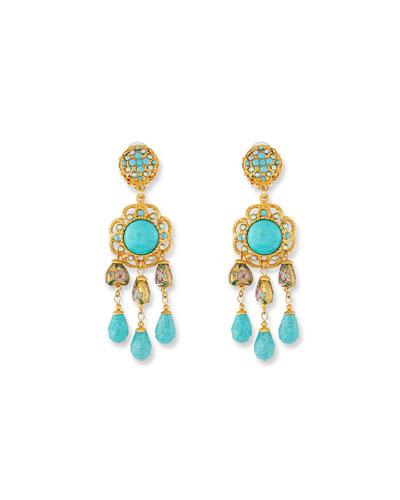 Turquoise Triple-Drop Clip-On Earrings