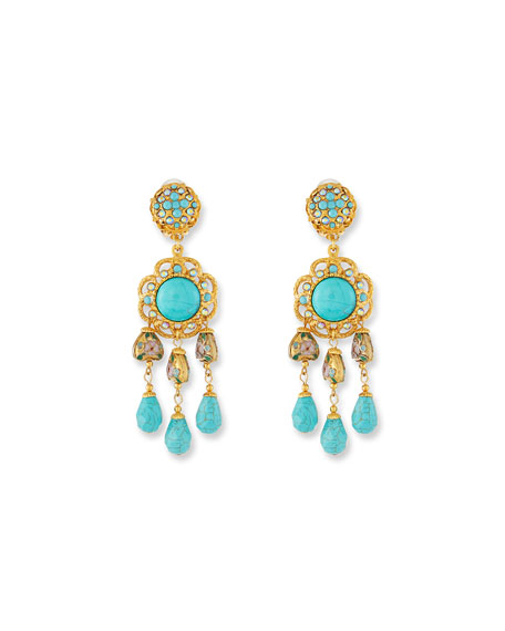 Jose & Maria Barrera Turquoise Triple-Drop Clip-On Earrings
