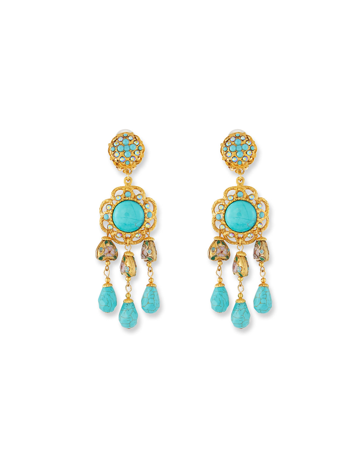 Jose & Maria Barrera Turquoise Hoop Drop Clip-On Earrings IouX8Z