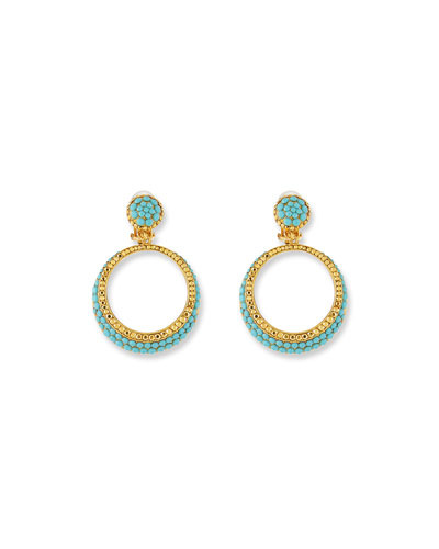 Turquoise Hoop Drop Clip-On Earrings