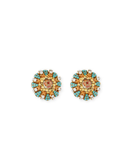 Jose & Maria Barrera Summer Button Clip-On Earrings