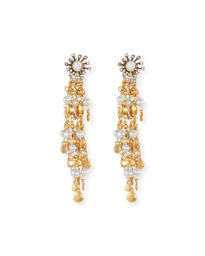Tiered Chandelier Earrings with Simulated Pearls