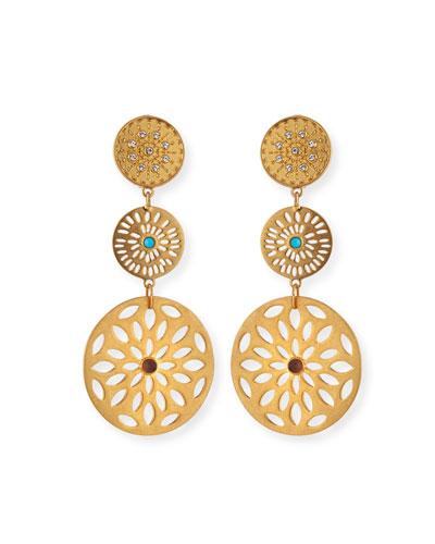 Triple Medallion Drop Earrings