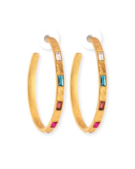 Rainbow Crystal Hoop Earrings