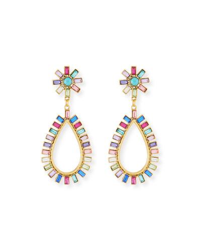 Rainbow Floral Crystal Drop Earrings