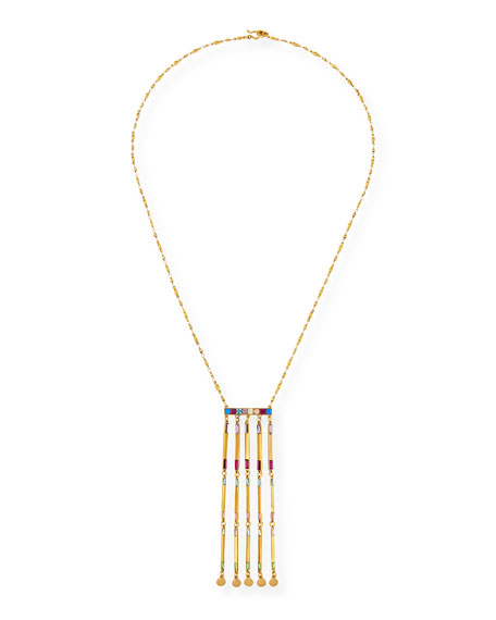 Long Rainbow Multi-Drop Necklace