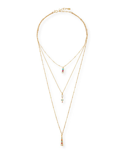 Three Layer Crystal Pendant Necklace