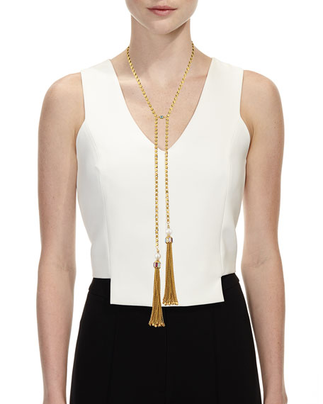 Double Tassel Y-Drop Necklace