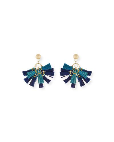 Raffia Tassel Statement Earrings, Blue