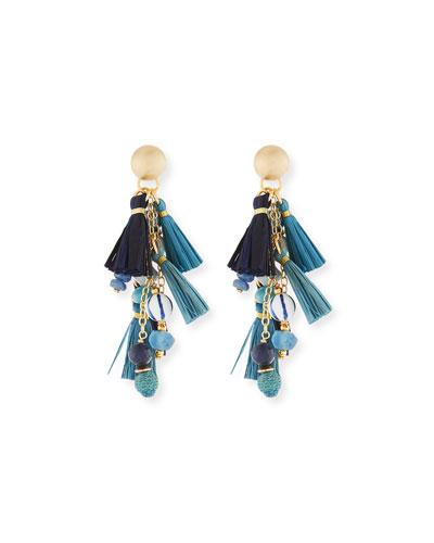 Blue Mixed-Media Cluster Raffia Tassel Drop Earrings