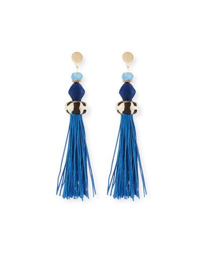 Bone & Raffia Fringe Drop Earrings, Blue