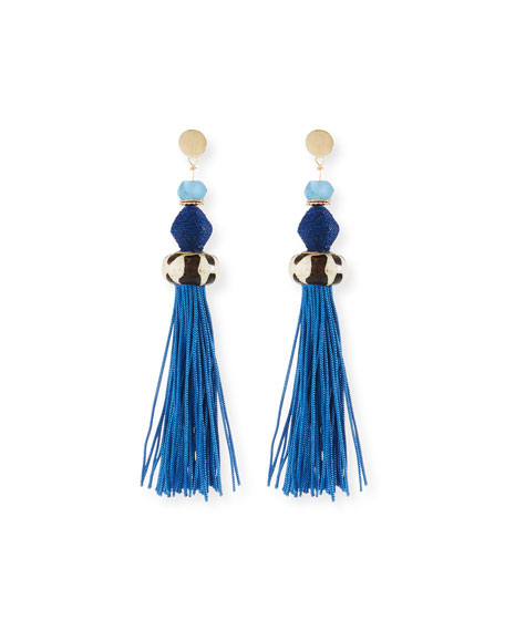 Bone & Raffia Fringe Drop Earrings, Blue
