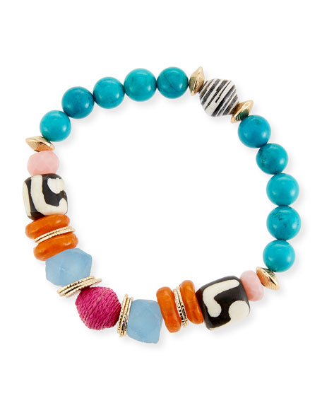 Akola Thin Multicolor Beaded Stretch Bracelet, 7.25