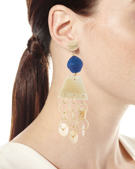 Horn, Raffia and Triple Chain Dangle Earrings