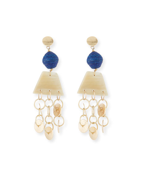 Akola Horn, Raffia and Triple Chain Dangle Earrings