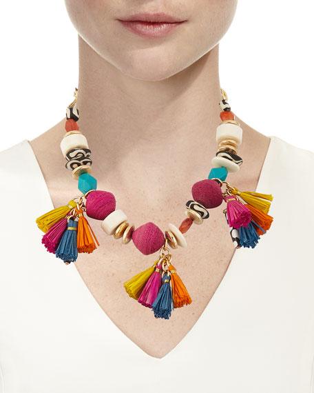 Short Multi-Bead & Tassel Necklace