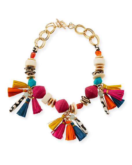 Akola Short Multi-Bead & Tassel Necklace