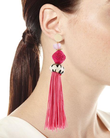 Bone & Raffia Fringe Drop Earrings, Pink