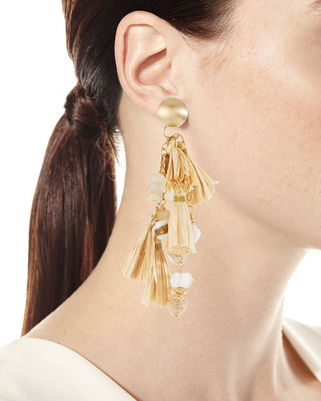 Natural Cluster Raffia Tassel Drop Earrings